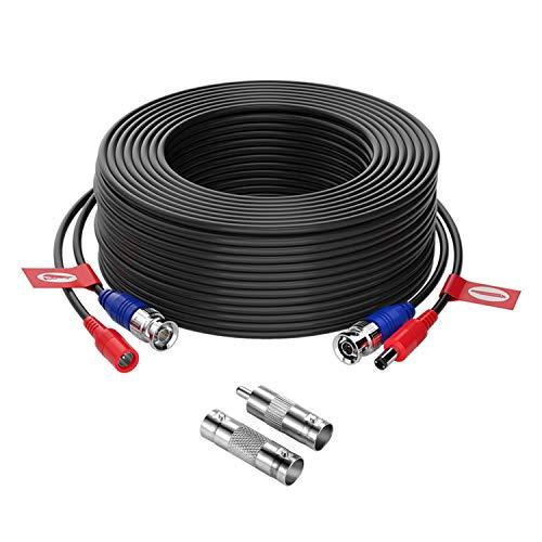 ZOSI Cable 30m/100 pies de BNC Video Fuente de Alimentación para CCTV Kit de Cámara Seguridad Vigilancia DVR (1 Pack Negro)