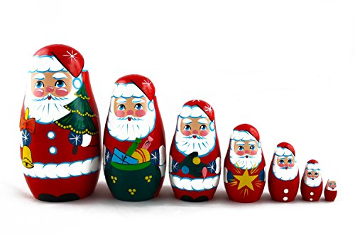 Matryoshka Russian Nesting Doll Babushka Beautiful Santa Claus Set 7 Pieces Pcs Wooden Hand Painted Souvenir Craft Gift
