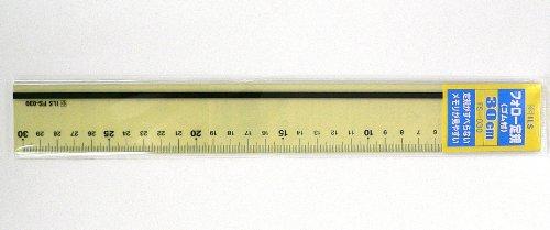 プラスチック加工専門店 【井上製作所】 フォロー定規30cm (FS-030) ※(ゴム付き) 黄色透明がメモリ・数字をスッキリと認識することが出来、滑り止めゴムがしっかり固定してまっすぐな線がきちんと引けます。