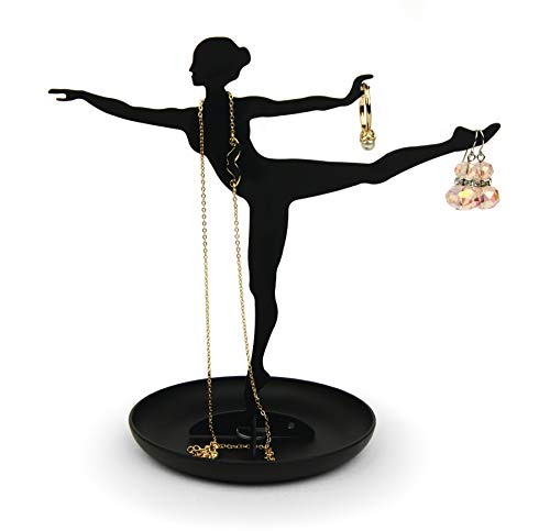 Kikkerland Schmuckhalter Ballerina, Metall, Schwarz, 18 x 17,8 x 10,2 cm