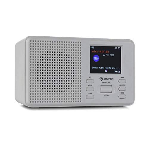 auna Commuter - Radio Digital Dab+/FM, Bluetooth, Pantalla TFT 2.4', Potencia 2 W RMS, Temporizador de Apagado, 2 alarmas Ajustables, Salida Auriculares 3,5 mm, Carcasa Robusta de plástico, Hueso