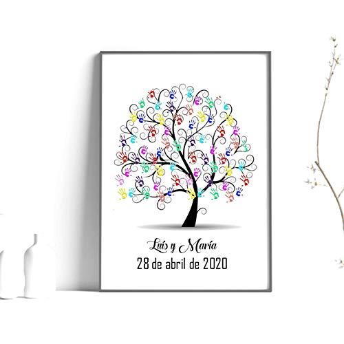 Didart Handmade Cuadro árbol de huellas. Con marco varios colores a elegir. Personalizado Bodas, Comuniones, bautizos. Tintas e instrucciones incluidas.Modelo pajaritos. Hecho en España