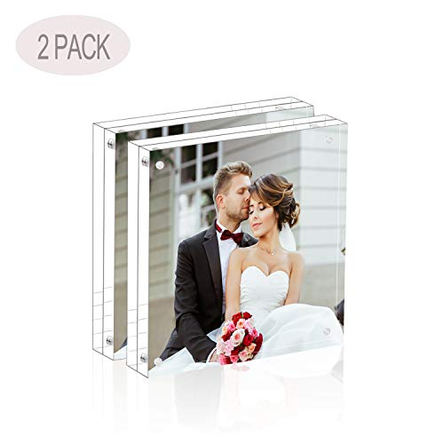 Magicool Premium Acrylic Photo Frame- Magnet Photo Frame -Double Sied Thick Desktop Frames (5x5 2 Pack) Double Picture Frame Magnet