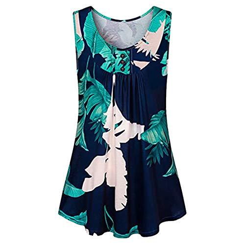Chaleco sin Mangas de Verano para Mujer Mini Vestido Estampado Camisetas sin Mangas Delgadas Playa Vestidos en V Floral de Verano con Cuello en V para Mujer Túnica con Botones Tops de Manga Corta