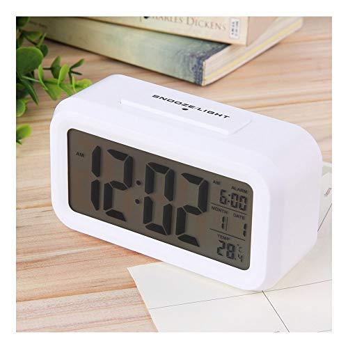 SKYLIT Digital Smart Backlight LCD Display Automatic Sensor, Date and Time, Temperature Plastic Alarm Clocks (White)