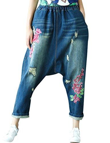 Youlee Damen Elastische Taille Bestickt Hose mit tiefem Schritt Löcher Jeans Haremshose