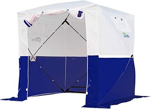 Goutime 2x2 Pavillon Multifunktionales Wasserdichtes pop-up-Zelt,Tragbarer Klappbarer Pavillon,Verwendet Für Camping/Angeln/Rettung usw,Weiß und Blau …