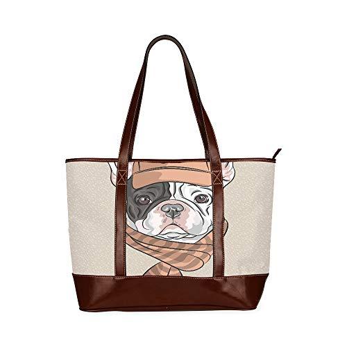 QIAOLII Hipster Dog French Bulldog Rasse in einer braunen Kappe Schulter Strandtasche Damenhandtaschen Große Kapazität bedruckte Tragetaschen mit Reißverschluss Top-Griff