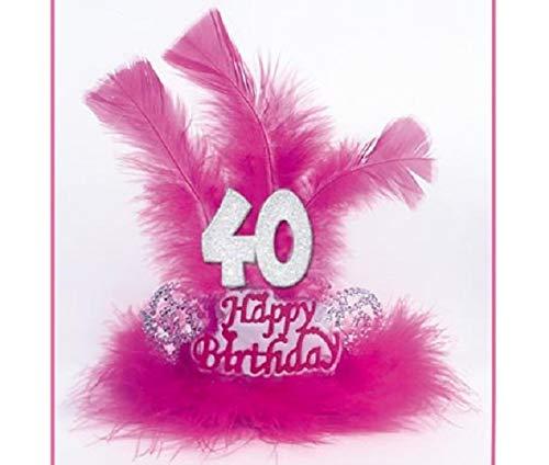TIARA con Marabù e Piume 40 ANNI - Accessori Festa 40° Compleanno