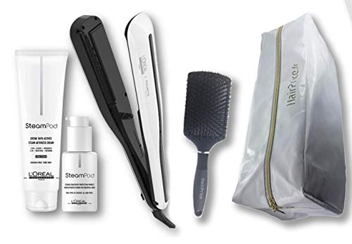 L'Oréal Professionnel Steampod 3.0 - Plancha alisadora + crema para cabello grueso 150 ml + sérum 50 ml + estuche de almacenamiento + cepillo