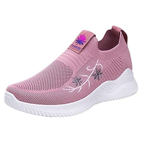 Zapatillas Deporte Mujer, Deportivas Sneaker Running Senderismo Gimnasia Transpirable Verano 2021 Cordones Baratas Blancas Vestir Platform Cuña Plantilla Regular Gimnasio (H13_Pink,EU39)