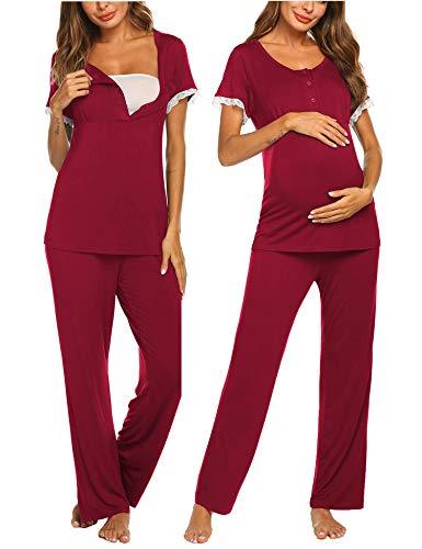 MAXMODA Damen Stillpyjama-Umstandspyjama-Schlafanzug Zweiteilige Nachtwäsche Oberteil Shirt und Lang Hose Hausanzug Pyjamas mit Stillfunktion