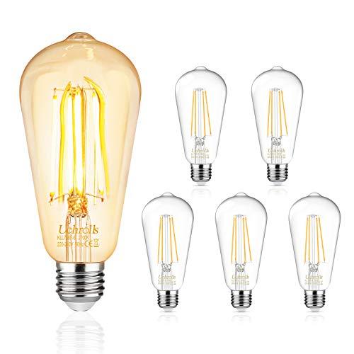 Uchrolls Edison Vintage Glühbirne, E27 6W Warmweiß (2700K) Glühbirne Vintage Antike Glühbirne, Ideal für Nostalgie und Retro Beleuchtung im Haus Café Bar usw, 5er Pack [Energieklasse A+]