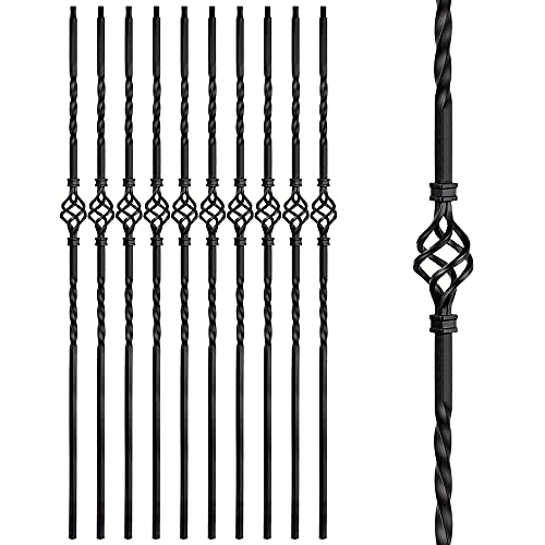 Aotree Iron Balusters - Wrought Iron Stair Balusters - Hollow Single Basket Metal Spindles - 44