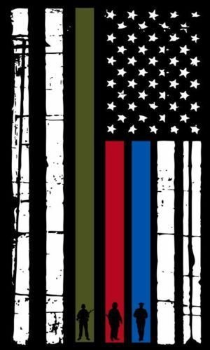 Evan Decals Thin Blue Line Vertical Flag Firefighter, Police, Military Decal Vinyl Sticker 5'