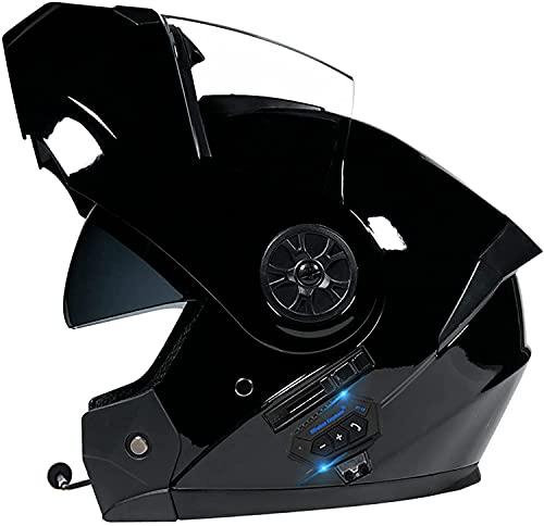 KKAAMYND ECE Certificación Casco Moto Modular con Visera Solar Doble Casco Motocross Bluetooth Integrado Casco Motocicleta Integral Street Cruiser Scooter Casco para Hombres Y Mujeres
