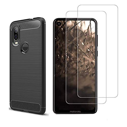 MISIDE Case for Moto One Vision Case,with Moto One Vision Screen Protector.3 in 1 Scratch Resistant Slim Shockproof Carbon Fiber Cover + 9H Tempered Glass Screen Protector (Black, Moto One Vision)