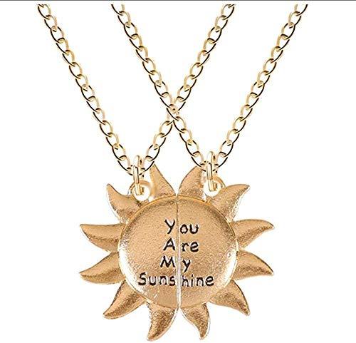 WYDSFWL Collar Conjunto de 2 Piezas Vintage Collar de Mujer Letras grabadas Eres mi Sol Colgante de Venta al por Menor Cadena de Oro Joyería de Moda Collar de Regalo