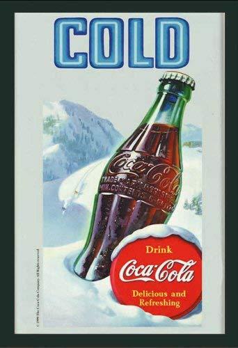 empireposter - Coca Cola - koud - grootte (cm), ca. 20x30 - Bedrukte spiegel, NIEUW - beschrijving: - Bedrukte wandspiegel met zwart kunststof frame in houtlook -