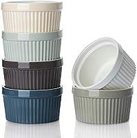 DOWAN Porcelain Ramekins Oven Safe, Creme Brulee Ramekins, Colorful, Set of 6