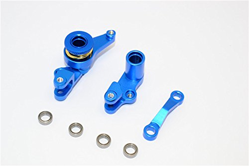 GPM Traxxas Slash 4X4 / Stampede 4X4 VXL / NOS Deegan 38 / Rustler 4X4 VXL Tuning Teile Aluminium Steering Assembly with Bearings - 1Set Blue
