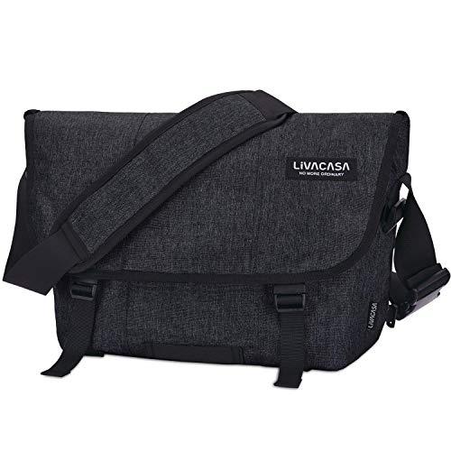 LIVACASA Aktentasche zum Umhängen Wasserdicht Herren Arbeitstasche Groß Studententasche Messenger Bag Laptoptasche 15.6 Zoll Umhängetaschen Herrentasche Laptop Arbeit Business-Tasche Schwarz