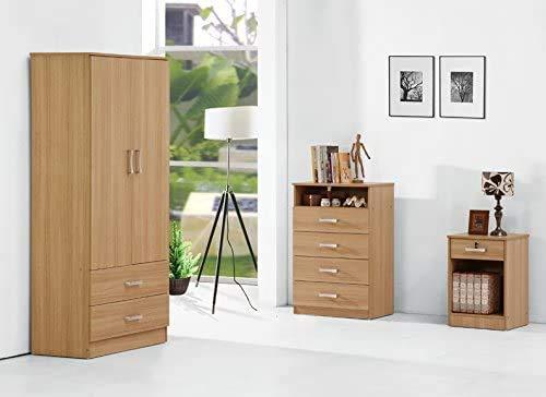 MMPTN Schlafzimmer-Trio Set Oak Effect Garderobe Brustbett,Wood Color