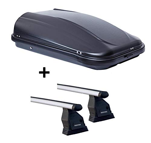 VDP Dachbox JUPRE320 320Ltr schwarz glänzend abschließbar + Dachträger Menabo TEMA kompatibel mit Mazda Cx-5 (5 Türer) 2015-2017 Aluminium