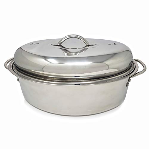 Professional Stainless Steel Oval Roaster with Wire Rack and High Dome for Turkey Ham Chicken Meat Roasts Casseroles Vegetables  Induction Safe