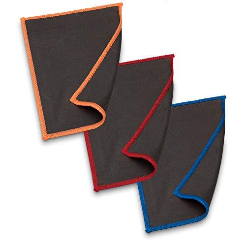 Carbotec® Mikrofasertücher-Set 3 tlg. – Glas-Reinigungstücher mit Carbonfasern zur Displayreinigung, ideal als Mikrofasertuch für Tablets, Laptops, Smartphones oder als Brillenputztuch