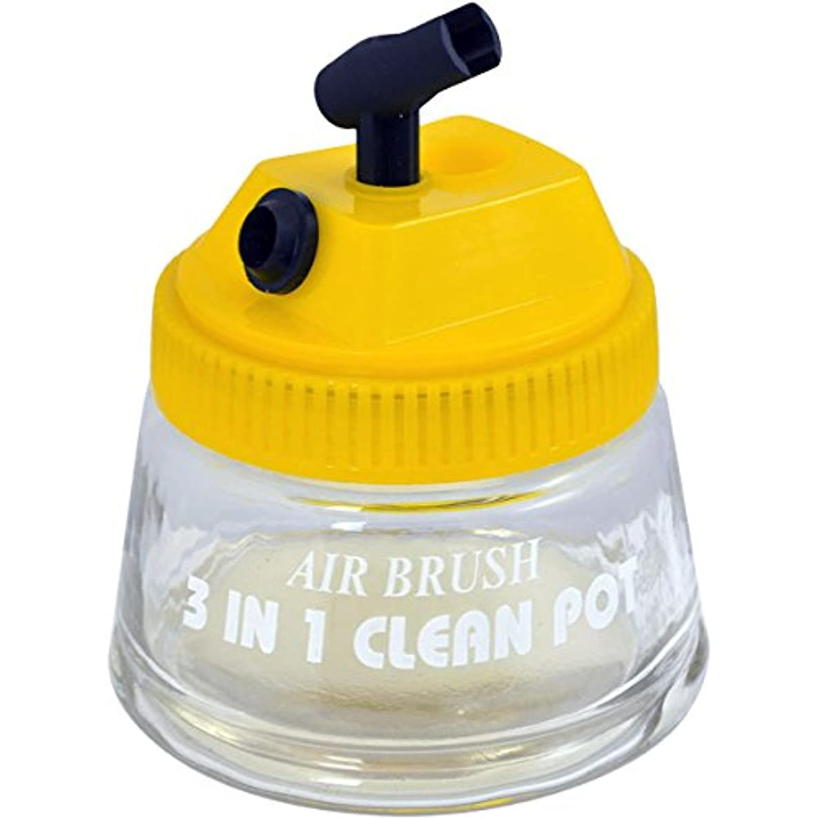 Master Airbrush 3-in-1 Cleaning Pot with Holder; Cleans and Holds Airbrush, Color Palette Lid