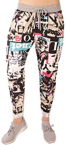 FASHION YOU WANT Damen Sweatpants Größe 34-50 Baggy Hose Boyfriend Freizeithose Sporthose All-Over Roses Print Big Size bis Übergröße (J17, 48/50)