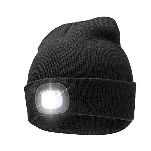 Fancylande - Gorro de punto con luz LED y recargable, con puerto USB para el manos libres, ligero, cálido y unisex, para senderismo, ciclismo, camping