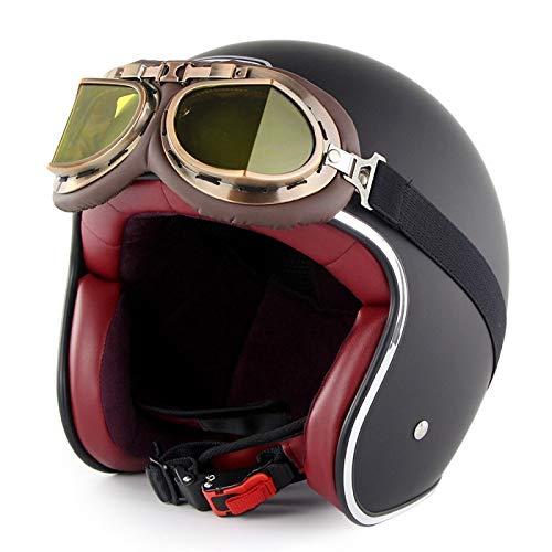 Casco De Moto Jet Vintage Harley 3/4 Medio Casco con Gafas Dot Certificado Cruiser Chopper Monopatín Ciclomotor Piloto Jet Casco De Cara Abierta Adulto Crash Helmet,E-XL=(61~62cm)