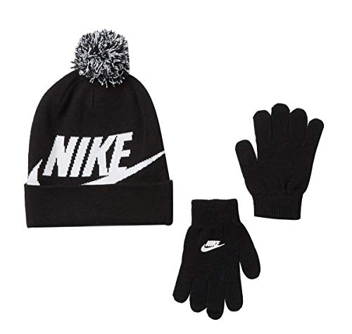 Nike Boy's Cold Weather Snow Cuff Style Hat and Gloves Set (8-20 Big Kids, Black(9A2695-023)/White)