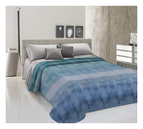 IlGruppone Copriletto Estivo 100% Cotone 2 Misure Arcobaleno Piquet Made in Italy - Blu - Matrimoniale