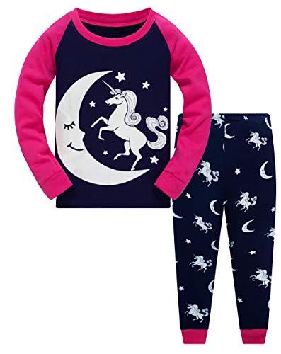 Mädchen Schlafanzug Einhorn 100% Baumwolle Kinder Zweiteiliger Lange Ärmel Pyjama...