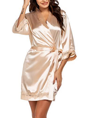 Ekouaer Silk Robe Womens Sexy Sleepwear Wedding Party Robes Lace Trim Kimono Bathrobes with Belt