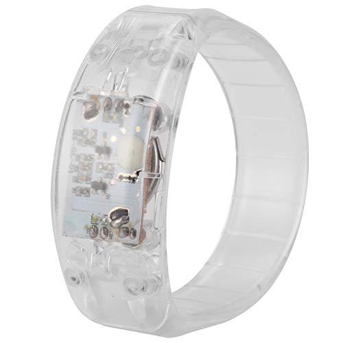 Hoseten Pulsera LED para Correr por la Noche, Conveniente Pulsera LED Pulsera LED Fresca Pulsera Intermitente activada por Voz para Bar para conciertos(White)