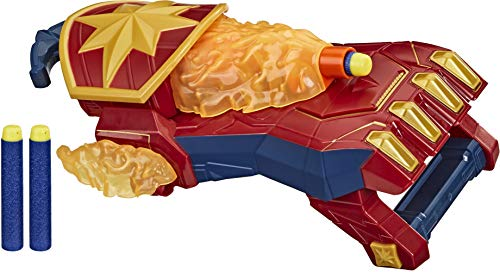 NERF Power Moves Marvel Avengers Captain Marvel Photon Blast Gauntlet NERF Dart-Launching Toy for Kids Roleplay, Toys for Kids Ages 5 and Up