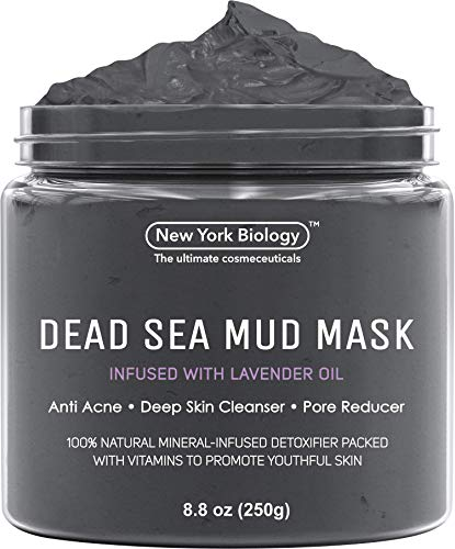New York Biology Dead Sea Mud Mask for Face and Body Infused with Lavender- Spa Quality Pore Reducer for Acne, Blackheads and Oily Skin - Tightens Skin for A Healthier Complexion - 8.8 oz