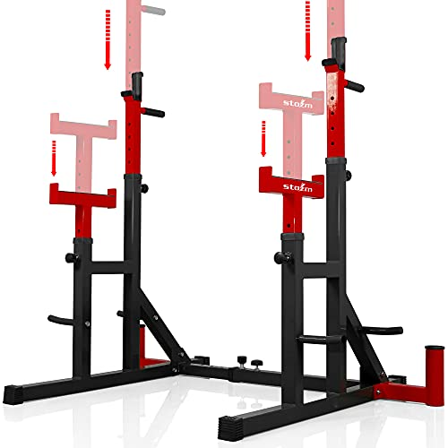 STOZM Premium Adjustable Squat Rack/Barbell Rack Multi-Functional Barbell Bench Press & Dipping Station for Home Gym, Weight Lifting – Max Loading 550lbs (Red) (YT6C)