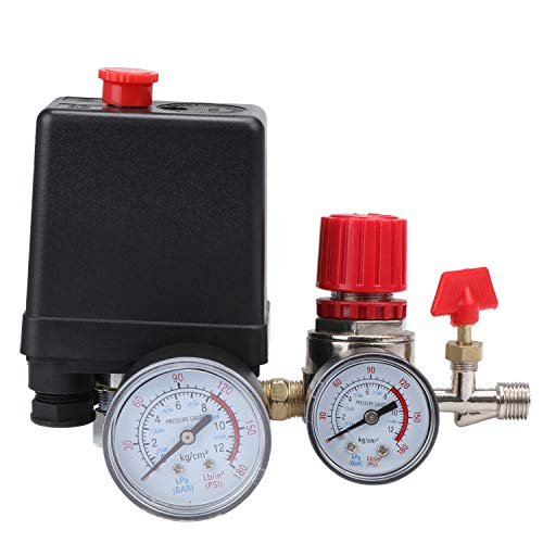 WiMas 240V Air Compressor Pressure Switch Steuerschalter, Ventilregler mit Manometer für Schnellen Druckabbau