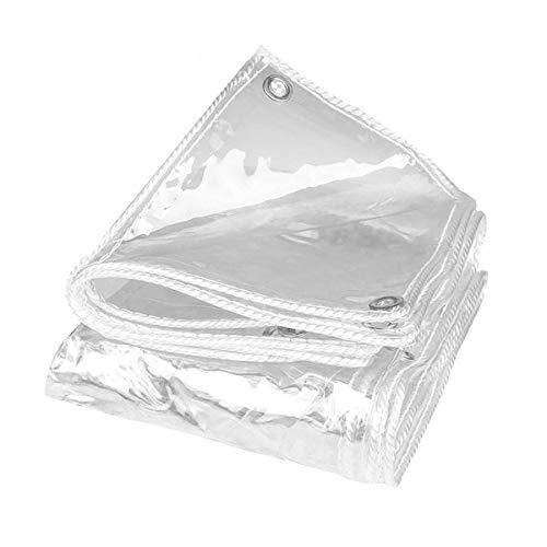 Fuuner Wasserdichte Transparente PVC Plane mit Ösen, Wetterfeste Plane Strapazierfähige Vordächer Faltbar, 0,5mm Regenschutz Abdeckplane für Gartenmöbel Pflanzen...