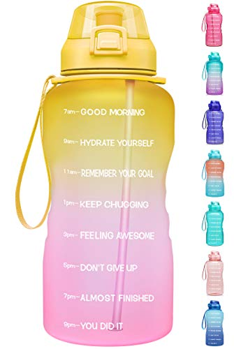Fidus Large 1 Gallon/128oz Motivational Water Bottle with Time Marker & Straw,Leakproof Tritan BPA Free Water Jug,Ensure You Drink Enough Water Daily for Fitness-Yellow/Pink Gradient