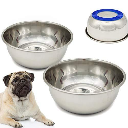 BPS - 2 ciotole antiscivolo per cani e gatti, in acciaio inox per animali domestici, 4 misure (M: diametro 16 cm), BPS-5538 x 2