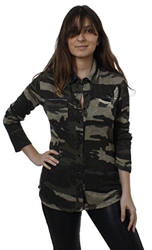 Key Largo Damen Bluse Longshirt Tunika Top Oberteil Field Camouflage, Grösse: L