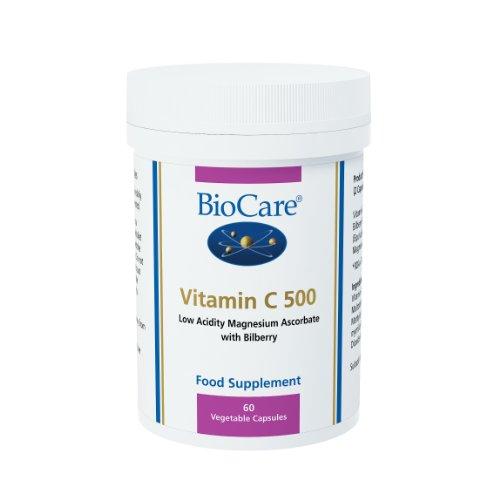 Biocare Vitamin C 500mg (mag ascorbate & bilberry) Citrus Free, 60 vegi tapasules