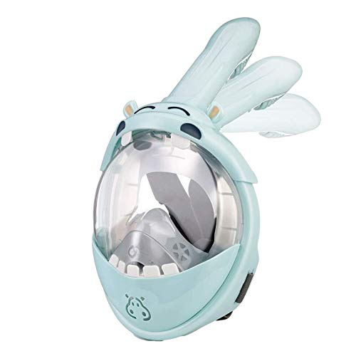 WUSHUN Snorkel Mask for Kids, 180° Panoramic View Snorkelling Mask, Foldable Full Face Design, with Anti-fog and Anti-leak Technology, for 4-10 years Children