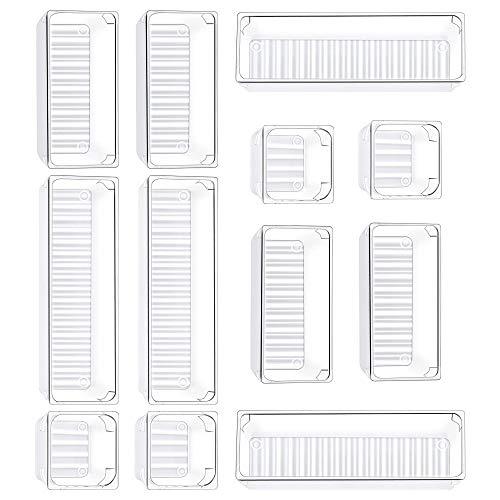 Kootek 12 Pcs Desk Drawer Organizer Trays 3-Size Bathroom Drawer Tray Plastic Storage Organizers Bins Customize Layout Dividers for Cosmetic Makeup Dresser Kitchen Flatware Cutlery Office Supplies
